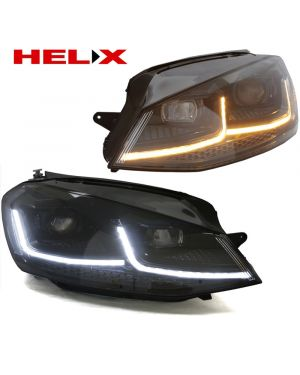 MK7.5 Style look (Black Stripe) Headlights with LED DRL for MK7 Golf and GTI