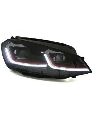MK7.5 Style look (Red Stripe) Headlights with LED DRL for MK7 Golf and GTI