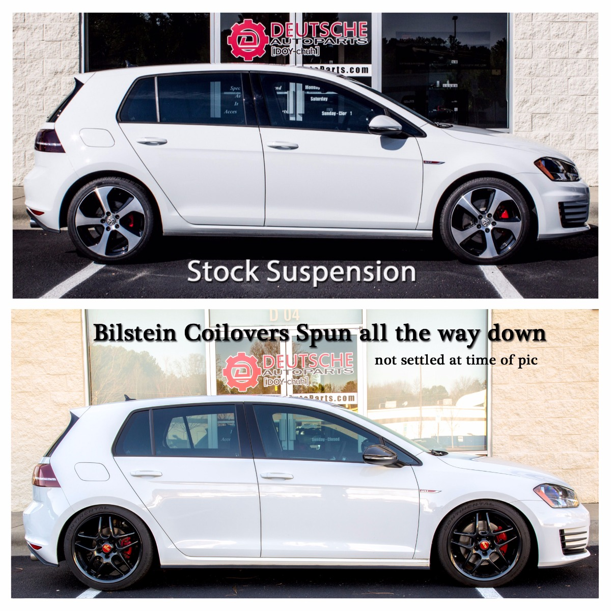 MK7 GTI Coilovers before and after
